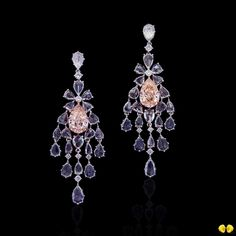 Exquisite chandelier earrings featuring pink diamonds in the centre adorned with rose-cut diamonds from Novel's Collection of rare fancy color diamonds #NovelCollectionAsia