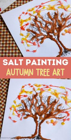 Salt painting autumn tree art with free printable tree template. An easy autumn craft for kids.