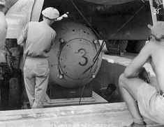 Fat Man test unit being raised from the pit into the bomb bay of a B-29 - Fat Man - Wikipedia, the free encyclopedia