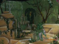 Jungle Book set, rocks and ruins for king louie, painting, mural