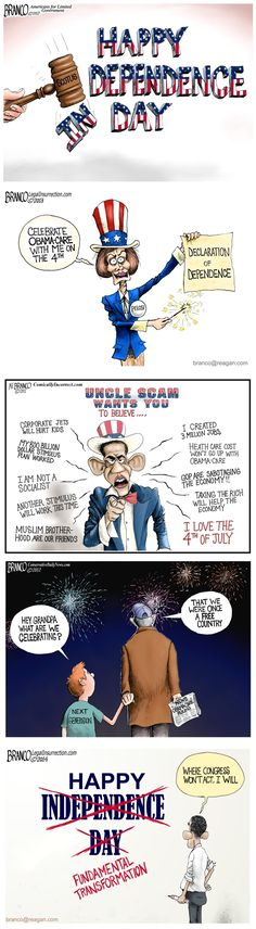 In spite of all the destructive policies inflicted on us by obama and the democrats over this past year, try and have a happy 4th of July. Cartoon by A.F.Branco ©2015