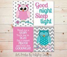Owl Nursery Décor-Pink Turquoise Nursery-Baby Girl Nursery Décor by HollyPopDesigns, $40.00