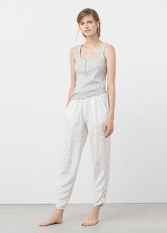 Rib knit fabric Rounded neck Wide straps Button fastening on the front section Pyjamas, Mango France, Ribbed Top, Nightwear, Knitted Fabric, Rib Knit, Capri Pants, Jumpsuit, Pajama Pants