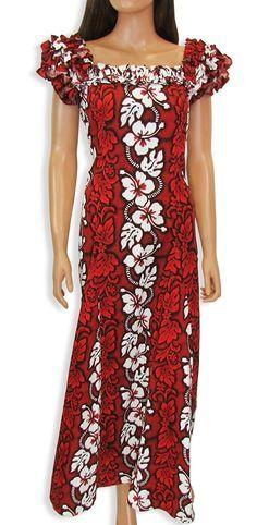 82f2cce9f7e8 Hawaiian Muumuu Dress Long Hawaii Women Muumuus Red Floral Aloha Dress NEW
