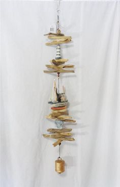NAUTICAL  BOAT LIGHTHOUSE SHELL LARGE NATURAL DRIFT WOOD WIND CHIME DECORATION #Unbranded