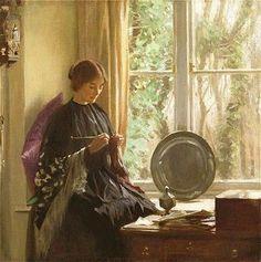 Harold Knight (English artist, 1874-1961) Knitting, 1915