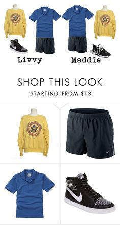 """""""gym - livvy and maddie"""" by snizzlemysnell ❤ liked on Polyvore featuring NIKE"""