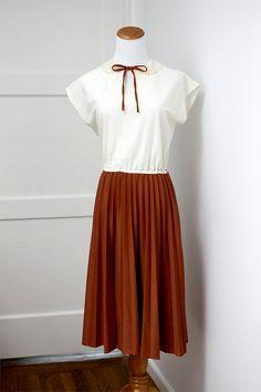 Vintage Burnt Orange Tie Lace Collar Dress Small
