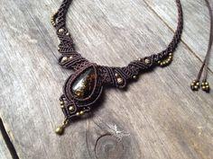 Micro macrame necklace amber - Custom order - boho jewelry micro-macrame necklace tribal