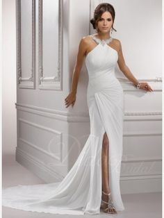 Chic Slitted Sheath / Column Halter Court Train Chiffon Wedding Dress with Beaded Appliques - Didobridal