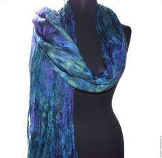 Купить большой шарф шёлковый сине фиолетово салатовый шёлк эксельсиор - шарф шелковый, шарф большой