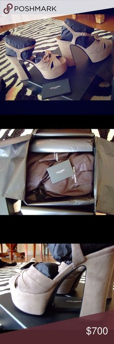 YSL Yves Saint Laurent Candy 80 Bow Sandal 6.5 Yves Saint Laurent Candy 80 Bow Sandal in Military Khaki. Size 6.5. I purchased these brand new in the Saint Laurent store in King of Prussia, PA in March 2017. They have never been out of the box except to take pictures. Mint condition. I am selling the matching bag in another listing. These come with all original packaging plus box and shopping bag. I am selling because this was a preorder bday present for my gf but we broke up recently and…