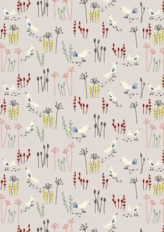 Patterns birds Winter Landscape by Little Cube