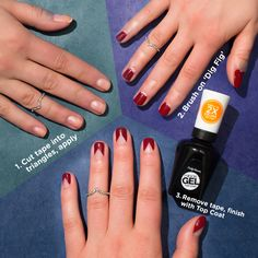 All arrows point to angular cut-out nail art. Try this simple look with Miracle Gel in shade #DigFig +top coat.
