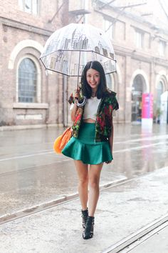 k is for kani: Brighten up rainy days in a Colourful Sleeveless Zip-Up Jacket + Teal Scuba Skirt + Bright Orange Fur Bag / Crossbody + Black Cut-out Heels + Cute Patterned Umbrella