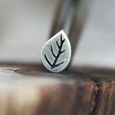 Silver Leaf piercing stud | For Nose, Tragus, Helix, Conch & Labret #Piercings #Alternative
