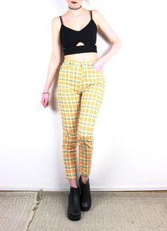 jean slim taille haute à carreaux années 90 vintage soft grunge orange funky