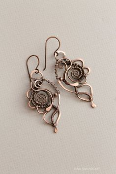 Wire wrap earrings copper earrings by LenaSinelnikArt on Etsy