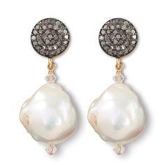 Pearlescent Earrings at http://www.arhausjewels.com/product/ea1214/earrings#arhausjewels #earrings #baroque #pearls #pavé