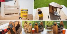 f you have the time and some woodworking skills, why not go all-out and make Dad this cool beer caddy? He will be thanking you all summer long! Diy Father's Day Gifts, Father's Day Diy, Fathers Day Gifts, Beer Caddy, Woodworking Skills, Best Beer, Dads, Diy Projects, Cool Stuff