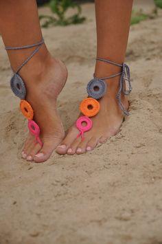 Uncinetto Multicolor sandali a piedi nudi scarpe Nude di barmine