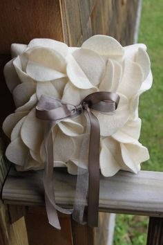 Petal ring bearer pillow with double ribbon by thePinUpShop