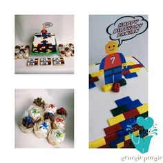 Custom LEGO Birthday Cake Along With Cookies and Cupcakes