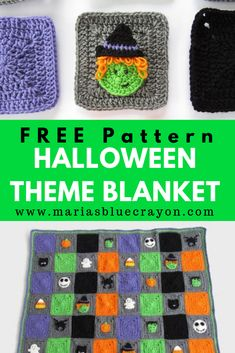 Halloween Blanket Crochet Along - Free Pattern - Maria's Blue Crayon Crochet this granny square blanket for Halloween. This afghan is perfect as a throw blanket for you Crochet Cushions, Crochet Pillow, Cat Crochet, Blanket Crochet, Crochet Afghans, Free Crochet, Granny Square Blanket, Granny Square Crochet Pattern, Crochet Blocks