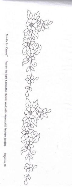 Vine and flowers Border Embroidery Designs, Hand Embroidery Patterns, Beaded Embroidery, Beading Patterns, Cross Stitch Embroidery, Wreath Drawing, Fabric Painting, Flower Designs, Needlework