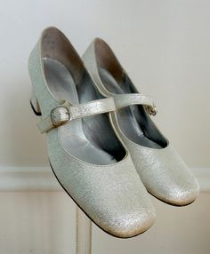 Vintage Silver Mary Jane Heels / Shoes / 1960s 60s / French Room Original for Chandler's