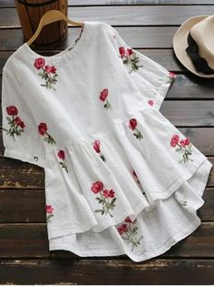 Sweet Floral Embroidery Low Blouse Shirt Women Ladies Short Sleeve White Tops O-Neck Casual Cute Blouse Blusas Kurta Designs, Blouse Designs, Cute Blouses, Shirt Blouses, Blouses For Women, Cheap Blouses, Designer Kurtis, Frill Blouse, Linen Blouse