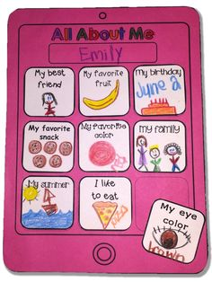 All About Me Tablet Craftivity! A fun way for your students to get to know each… Five Senses Preschool, My Five Senses, First Day Activities, All About Me Activities, Preschool Journals, Preschool Lessons, All About Me Project, Sight Word Coloring, September Themes