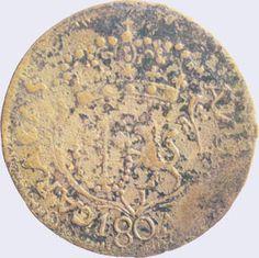 Pieza mpc0.25r-aa02 (Anverso). Moneda de la Provincia de Caracas. 1/4 Real. Diseño A, Tipo A. Fecha 1804