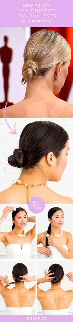 Obsessing over this sleek low bun. Hack the hairstyle at home in under 5 minutes with this tutorial.
