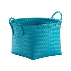 Round Woven Plastic Storage Basket - Teal Blue - Room Essentials, Teal... ($8.99) ❤ liked on Polyvore featuring home, home decor, small item storage, round woven storage baskets, woven basket, room essentials, plastic baskets and teal home decor