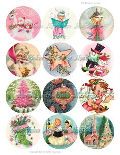 Vintage Retro Christmas 2.5 inch Circles for by monbonbon on Etsy, $2.89