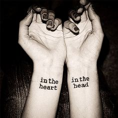 Waterproof Temporary Tattoo ~In The Heart In The Head