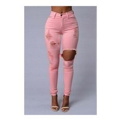 Yoins Ripped High-Rise Skinny Jean in Pink ($27) ❤ liked on Polyvore featuring jeans, ripped skinny jeans, ripped jeans, skinny jeans, high waisted distressed skinny jeans and destroyed skinny jeans