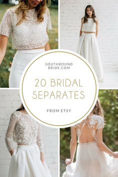 20 Beautiful Bridal Separates from Etsy Wedding Seperates, Wedding Dress Separates, Two Piece Wedding Dress, Bridal Separates, Simple Wedding Gowns, Wedding Skirt, Top Wedding Dresses, Wedding Attire, Bridal Tops