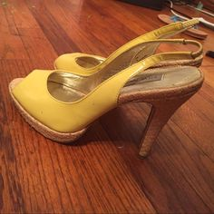 Selling this Steve Madden Canary Yellow Open Toe Pumps in my Poshmark closet! My username is: falina7. #shopmycloset #poshmark #fashion #shopping #style #forsale #Steve Madden #Shoes