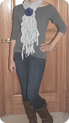 No Sew ruffle T-shirt scarf. Super cute!