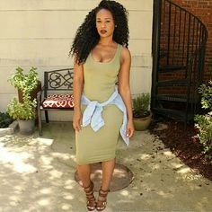 Grab your Jersey Midi Dress & Denim Button Up shirt now by shopping SteelePretty.com. #fashion #ATL