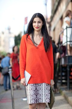 Doubling up on the vamp, Caroline Issa wears red with a snake print landing on a demure look.