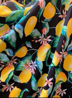 Lemons print on Black Spandex Fabrics- Pinkish floral, Yellow, Green spring fabric sold by the yard by la20fabrics on Etsy Scrunch Bikini Bottoms, Crushed Velvet Fabric, Kailua Kona, High Rise Bikini, Lemon Print, White Dragon, Can Lights, Gold Print, New Print
