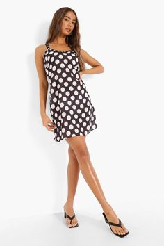 Polka Dot Frill Trim Strappy Slip Dress | boohoo Plain Tees, Straight Dress, Cheap Dresses, Dress Collection, Casual Looks, Boohoo, Designer Dresses, Looks Great, Polka Dot