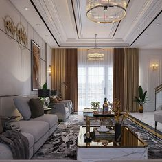 Neoclassic Living on Behance Living Room Drapes, Home Living Room, Living Room Designs, Living Room Decor, Bedroom Ceiling, Luxury Apartments, Luxurious Bedrooms, Ceiling Design, Contemporary Decor