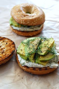 toasted bagel with dill cream cheese and avocado