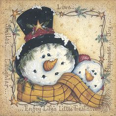 Happy Snowman - Mary Ann June - Fine-Art Print -christmas art prints and posters Frosty The Snowmen, Cute Snowman, Snowman Crafts, Christmas Snowman, Winter Christmas, Vintage Christmas, Christmas Holidays, Christmas Decorations, Christmas Ornaments
