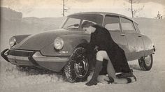 Citroen DS and its thoughtful female owner Citroen Ds, Psa Peugeot Citroen, Snow Chains, Space Car, 2cv6, Automobile, Car Drawings, Vintage Trucks, Car Girls