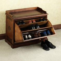 Small wooden shoe storage bench.  source link in post no longer works. :-(